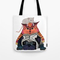 mouse cat pug white Tote Bag