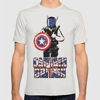 Captain Britain Mens Fitted Tee Silver SMALL