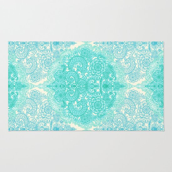 happy place doodle in mint green aqua rug by micklyn