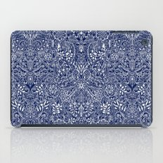 Detailed Floral Pattern in White on Navy iPad Case