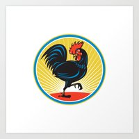 Rooster Cockerel Marchin… Art Print