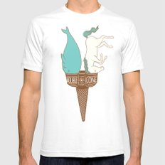 Double Cone SMALL White Mens Fitted Tee