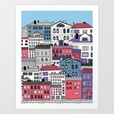 Doodle town Art Print