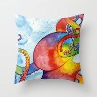 Rainbow Octopus Throw Pillow