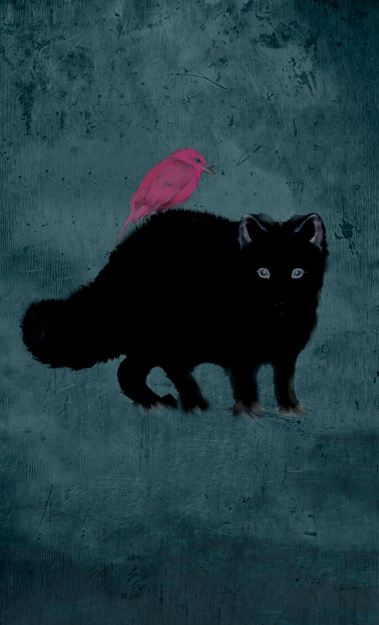 Cat and bird friends! Art Print