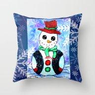 Snowman Christmas Painti… Throw Pillow