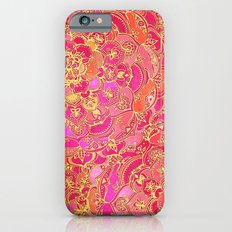 Hot Pink and Gold Baroque Floral Pattern iPhone 6 Slim Case