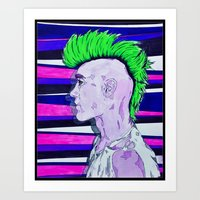 Neon Rock God Art Print