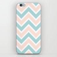 PEACH & BLUE CHEVRON 2 iPhone & iPod Skin