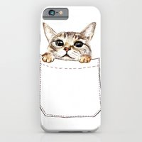 iPhone Cases featuring Pocket cat by Anna Shell