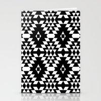 Aztec Inspired Pattern White & Black Stationery Cards