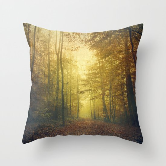 fall morning forest Throw Pillow