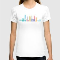 New York Skyline White Womens Fitted Tee White SMALL