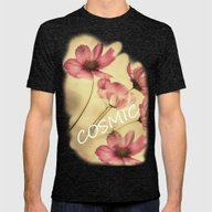 Dreamy Cosmea Mens Fitted Tee Tri-Black SMALL