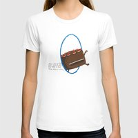 The Cake is Alive Womens Fitted Tee White SMALL