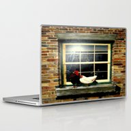 Laptop & iPad Skin featuring Roosters On A Ledge  by Chris' Landscape Ima…