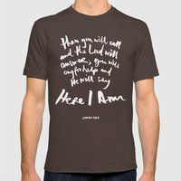 Isaiah 58:9 Mens Fitted Tee Brown SMALL