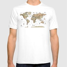 World Treasure Map Mens Fitted Tee SMALL White