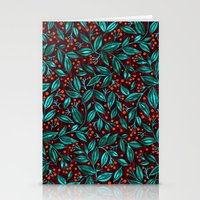ORANGE BERRIES TURQUOISE LEAVES Stationery Cards