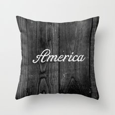 Black and White Patriotic Vintage America USA Wood Throw Pillow