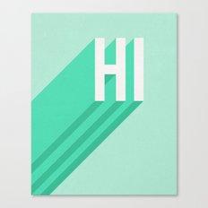 Hi - Long Shadow Retro Typography in Mint Green Canvas Print