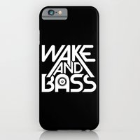 iPhone & iPod Case featuring Wake And Bass (White) by Halucinated Design