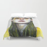 yellow lemongrass Duvet Cover