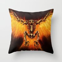 Mecha-Phoenix Throw Pillow