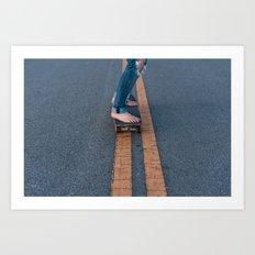 Barefoot Skateboard Art Print