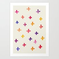 Colorful crosses Art Print