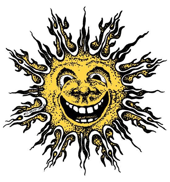 sun face - original yellow Art Print