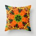 Orange Flower Garden Kaleidoscope Throw Pillow