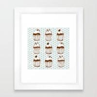 Retro Cupcakes Framed Art Print