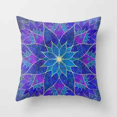 Lotus 2 - blue and purple Throw Pillow