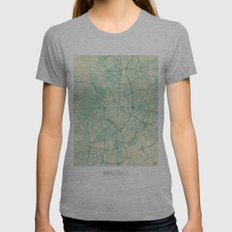 Madrid Map Blue Vintage Womens Fitted Tee Athletic Grey SMALL