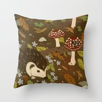 Woodland Critters (sepia… Throw Pillow