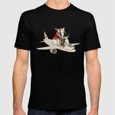 Cat and Wolf hit the road Mens Fitted Tee Black SMALL