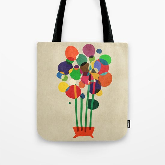 Happy flowers in the vase Tote Bag