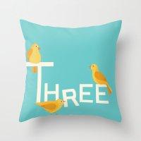 Three Songbirds Throw Pillow