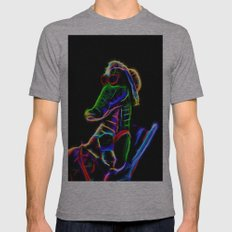 Neon Alligator Mens Fitted Tee Athletic Grey SMALL