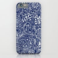 iPhone Cases featuring Detailed Floral Pattern in White on Navy by micklyn