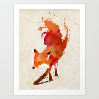 pop art Art Prints featuring Vulpes vulpes by Robert Farkas