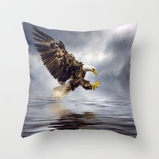Young Bald Eagle Swooping Throw Pillow