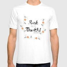 Rest and Be Thankful White SMALL Mens Fitted Tee