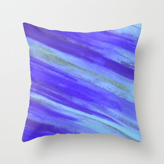WASHED UP - Bold Blue Stripes Abstract Watercolor Painting Colorful Fun Surfer Ocean Waves Throw Pillow