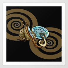 Abalone with Historic Maori Fishing Hooks Art Print