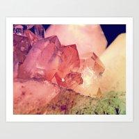 Quartz Mineral Gem Cluster Art Print