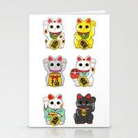 Lucky Cat / Maneki Neko Stationery Cards