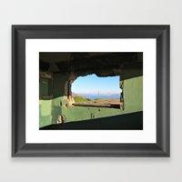 City Through A Window Framed Art Print