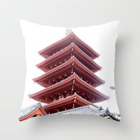Japanese Pagoda Throw Pillow